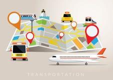 Mapa con el modo de transporte Imagen de archivo libre de regalías