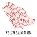 Mapa con los corazones rojos - símbolo de la Arabia Saudita del amor abstraiga el fondo stock de ilustración