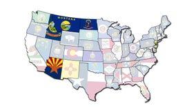 Mapa con los estados que destellan de los E.E.U.U. almacen de metraje de vídeo