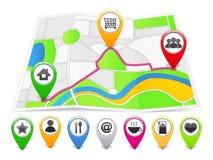 Mapa con los iconos stock de ilustración