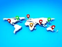 Mapa con los punteros del Pin Foto de archivo libre de regalías