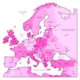 Mapa cor-de-rosa de Europa Imagem de Stock Royalty Free
