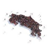 Mapa Costa Rica de la forma del grupo de la gente Fotos de archivo libres de regalías