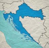 Mapa croata del vintage Imagenes de archivo