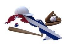 Mapa cubano con el indicador, herramientas del béisbol Imagen de archivo libre de regalías