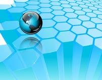 Mapa 3D azul do mundo no teste padrão do fundo da colmeia Fotografia de Stock