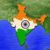 mapa 3D da Índia pintado nas cores da bandeira indiana Ilustração da torta estilizado da geleia ilustração royalty free