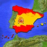 mapa 3D da Espanha pintado nas cores da bandeira espanhola Ilustração da torta estilizado da geleia ilustração do vetor