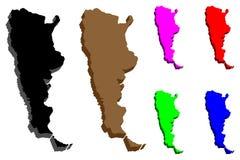 mapa 3D de Argentina ilustração stock