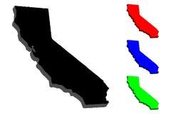 mapa 3D de Califórnia ilustração do vetor