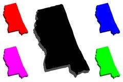 mapa 3D de Mississippi ilustración del vector