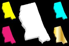mapa 3D de Mississippi libre illustration