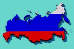 mapa 3D de Rússia Imagem de Stock Royalty Free