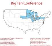 mapa 3d de 12 universidades en la conferencia grande de diez ( Imagenes de archivo