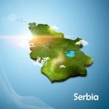 Mapa 3D realístico da Sérvia Imagem de Stock