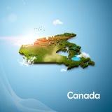 Mapa 3D realístico de Canadá Fotografia de Stock Royalty Free