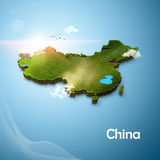 Mapa 3D realístico de China Imagem de Stock Royalty Free