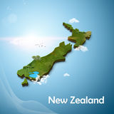 Mapa 3D realístico do zeland novo Fotos de Stock Royalty Free