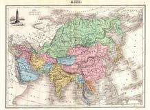 Mapa da antiguidade 1870 de Ásia Imagem de Stock