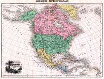 Mapa da antiguidade 1870 de America do Norte Foto de Stock Royalty Free
