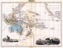 Mapa da antiguidade 1870 de Austalia Imagem de Stock