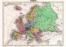 Mapa da antiguidade 1870 de Europa fotos de stock royalty free