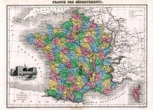Mapa da antiguidade 1870 de France Imagens de Stock Royalty Free