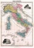 Mapa da antiguidade 1870 de Italy antigo Fotos de Stock