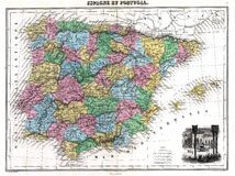 Mapa da antiguidade 1870 de Spain e de Portugal Foto de Stock Royalty Free