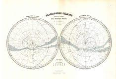 Mapa da antiguidade 1870 do zodíaco das estrelas Imagem de Stock
