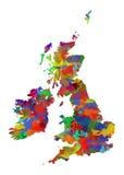 Mapa da aquarela de Grâ Bretanha Imagens de Stock