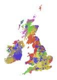 Mapa da aquarela de Grâ Bretanha Foto de Stock