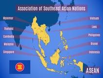 Mapa da associação do ASEAN asiático do sudeste das nações ilustração stock