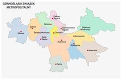 Mapa da associação metropolitana de Silesia superior e da bacia de Dabrowa no Polônia ilustração royalty free