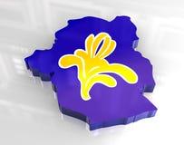 mapa da bandeira 3d de Bruxelas Fotos de Stock Royalty Free