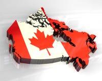 mapa da bandeira 3d de Canadá Foto de Stock Royalty Free