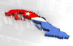 mapa da bandeira 3d de Cuba Imagens de Stock Royalty Free