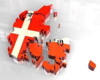 mapa da bandeira 3d de Dinamarca Foto de Stock Royalty Free