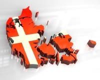 mapa da bandeira 3d de Dinamarca Imagens de Stock Royalty Free