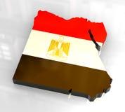 mapa da bandeira 3d de Egipto Imagem de Stock Royalty Free