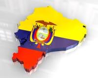 mapa da bandeira 3d de Equador ilustração stock