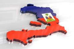 mapa da bandeira 3d de Haiti Fotos de Stock