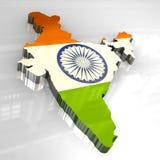 mapa da bandeira 3d de India Imagens de Stock Royalty Free