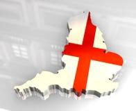 mapa da bandeira 3d de Inglaterra Imagens de Stock