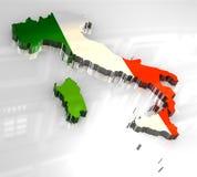 mapa da bandeira 3d de Italy Fotos de Stock Royalty Free