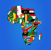 Mapa da bandeira de África Imagens de Stock