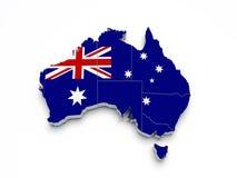 Mapa da bandeira de Austrália 3D no branco Fotografia de Stock Royalty Free