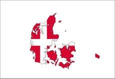 mapa da bandeira de Dinamarca Fotos de Stock