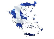 Mapa da bandeira de Greece 3D que rende o mapa e a bandeira de Grécia O símbolo nacional de Grécia Conceito colorido de ondulação ilustração royalty free