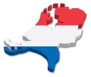 Mapa da bandeira de Holland Fotos de Stock Royalty Free